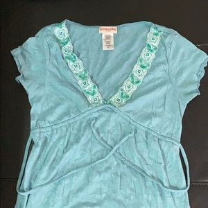 Guess Tops - Guess Jeans turquoise beaded shirt sleeved top